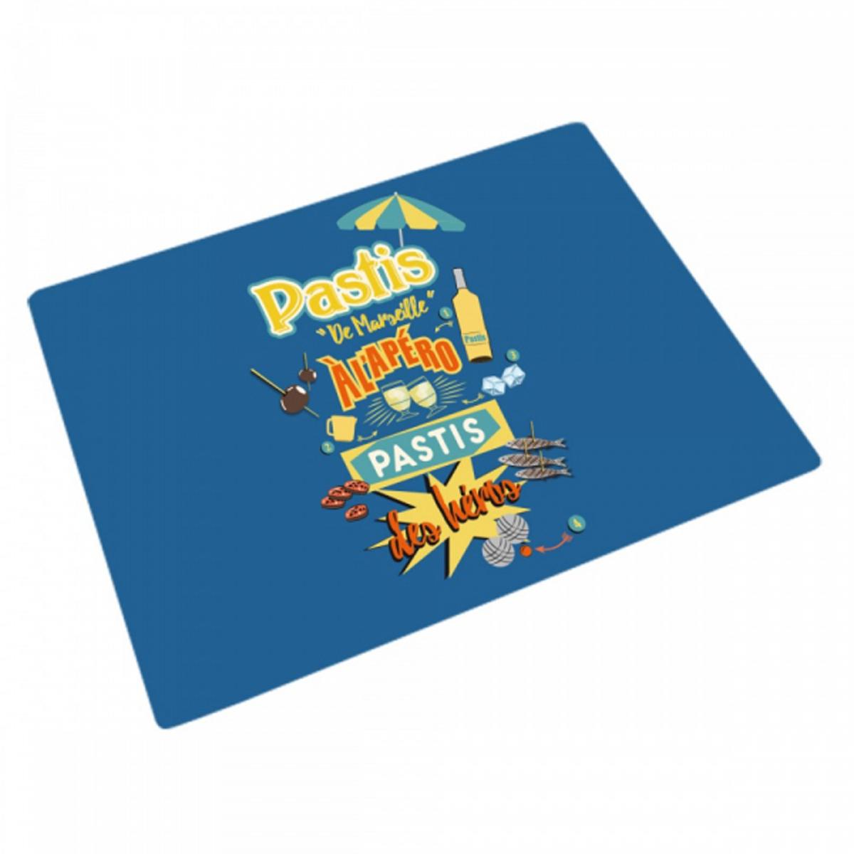 Planche à découpe / dessous de plat verre \'Pastis\' bleu (Pastis de Marseille, pastis des héros) - 30x20 cm - [R1951]