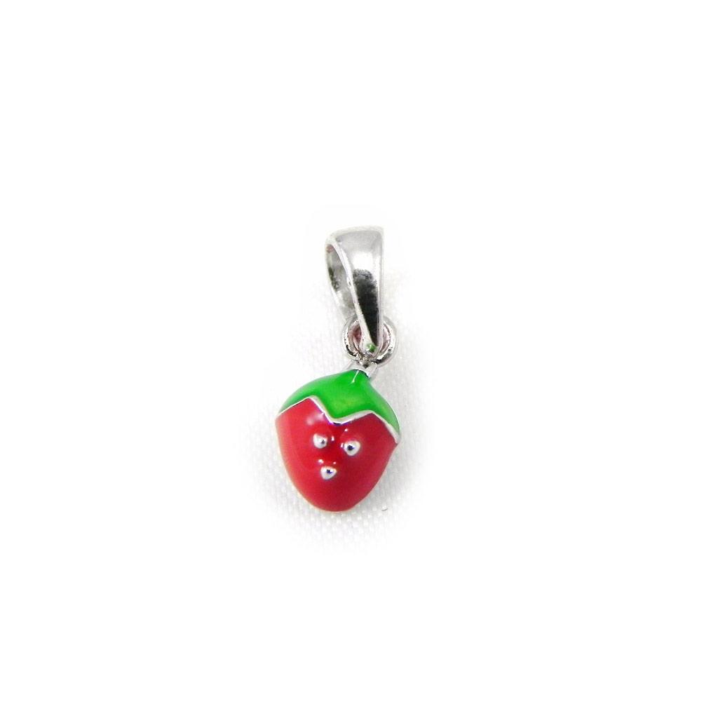 Pendentif Argent \'Fraise\' rouge vert argenté (rhodié) - 5x7 mm - [G8841]