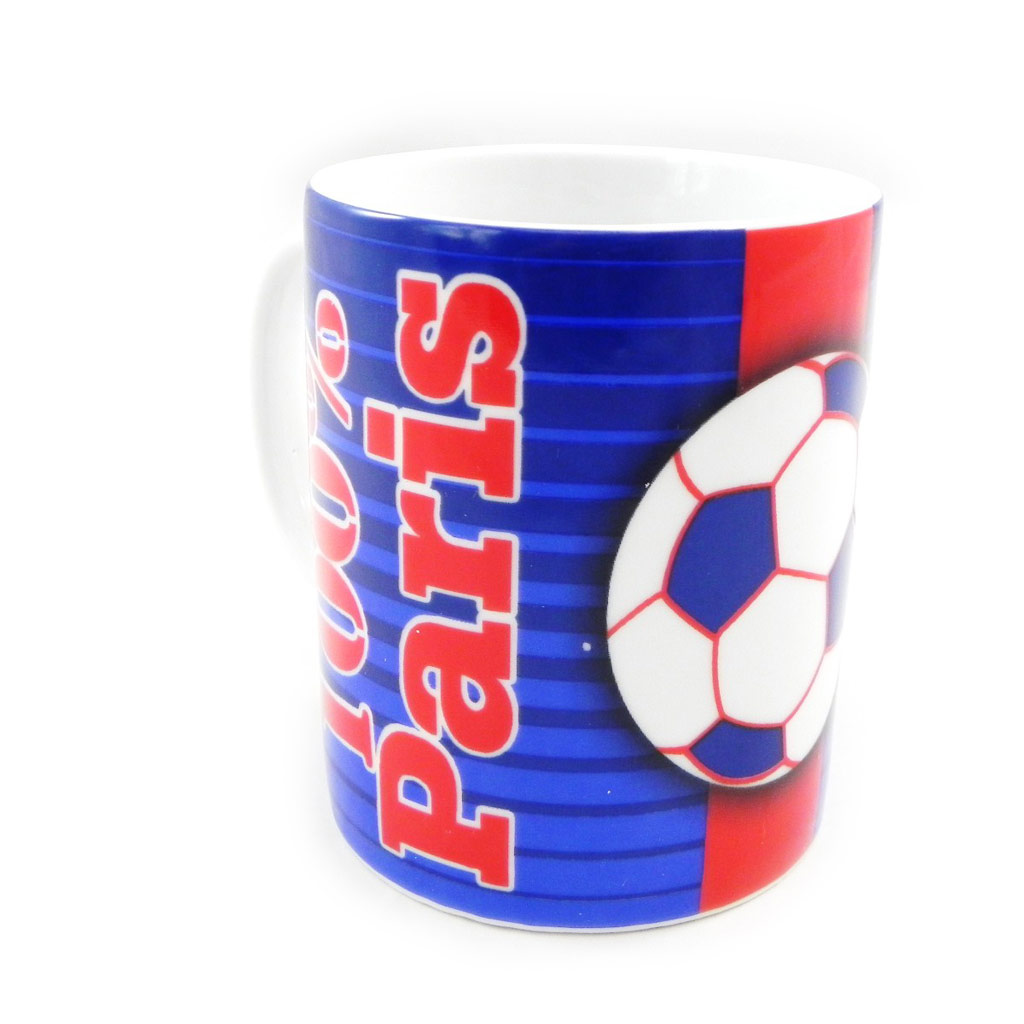 Mug porcelaine \'100% Paris\' bleu rouge - [H7776]