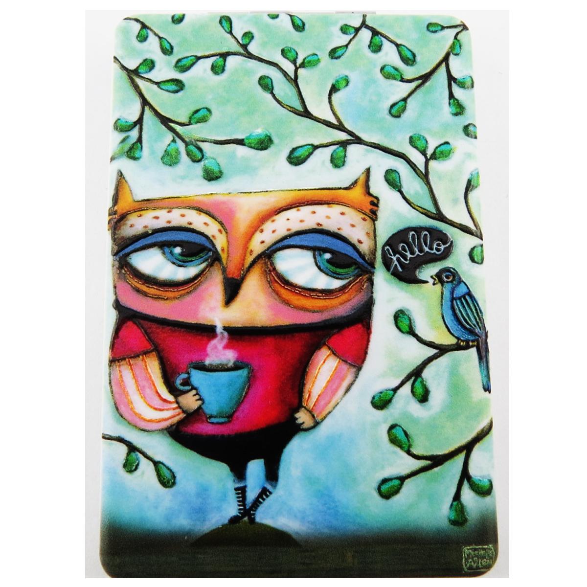 Miroir de poche \'Allen Designs\' vert multicolore (chouette) - 85x55 cm - [R1971]