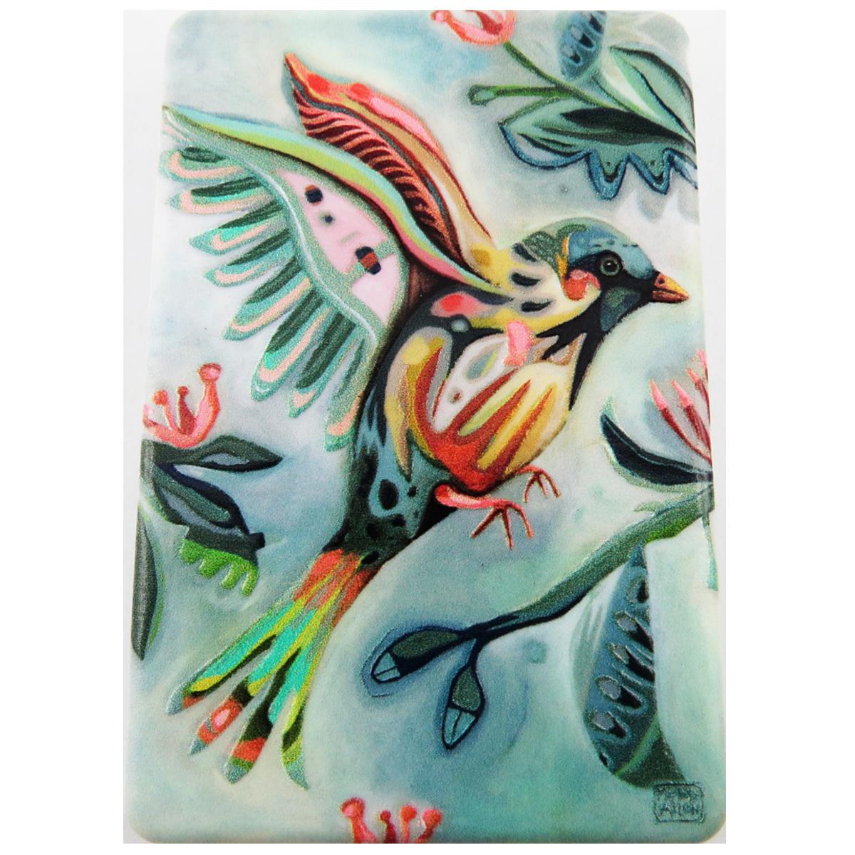 Miroir de poche \'Allen Designs\' vert multicolore (oiseau) - 85x55 cm - [R1973]