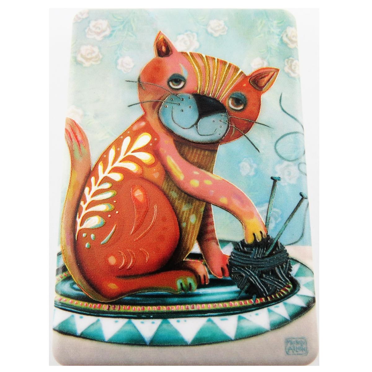 Miroir de poche \'Allen Designs\' orange (chat) - 85x55 cm - [R1975]