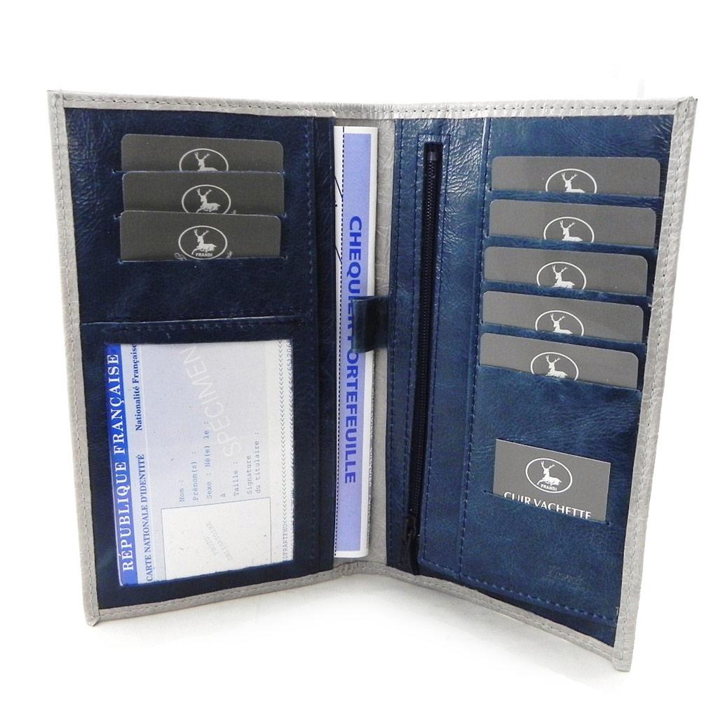 Porte-chéquier Cuir \'Frandi\' gris bleu vernis (cartes +) - [I7753]