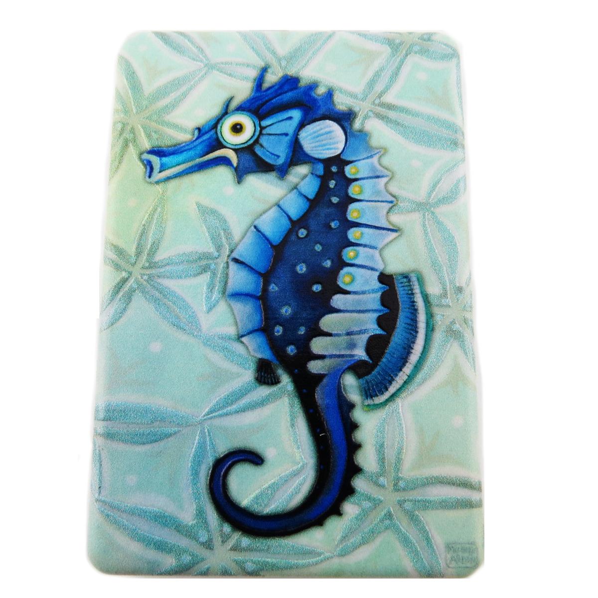 Miroir de poche \'Allen Designs\' bleu (hippocampe) - 85x55 cm - [R1978]
