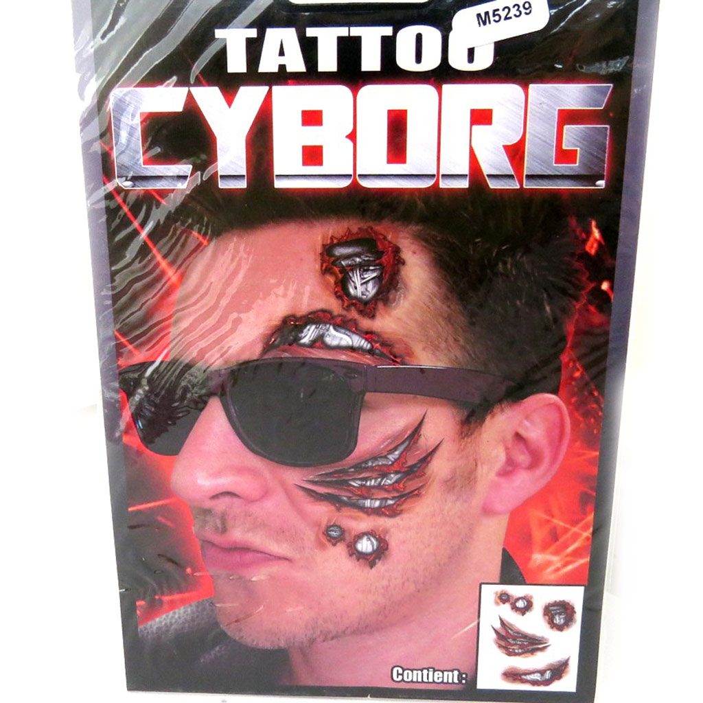 Tatouage fantaisie \'Cyborg\' (19x125 cm) - [M5239]