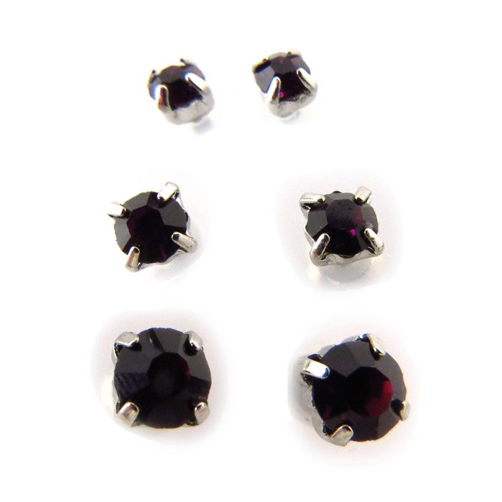 3 paires de boucles \'Cristal\' violet - [J6238]