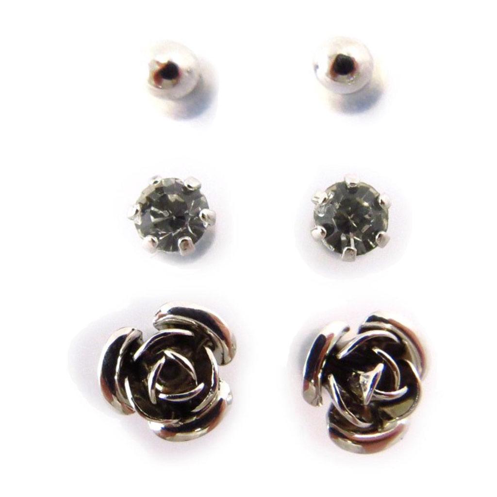 3 paires de boucles \'Sissi\' blanc argenté - [J6249]