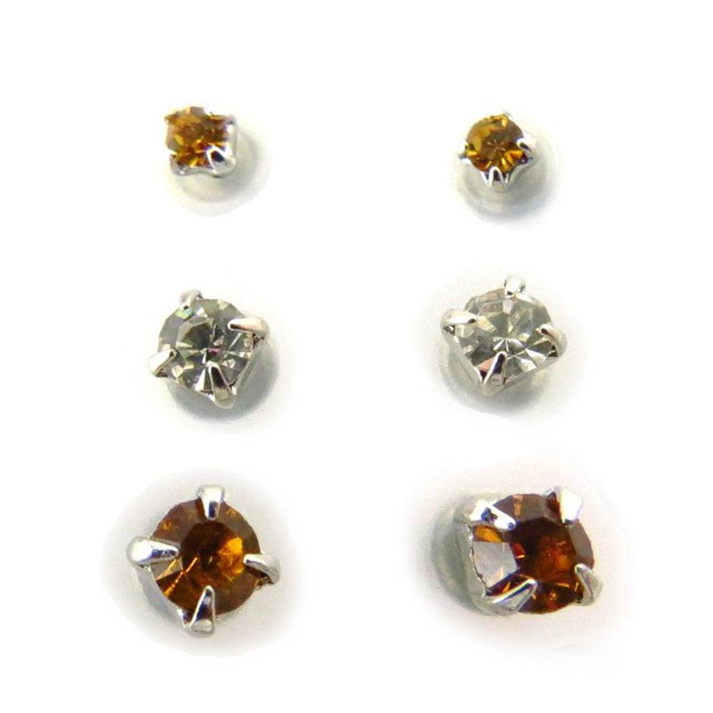 3 paires de boucles \'Cristal\' ambre - [J6256]