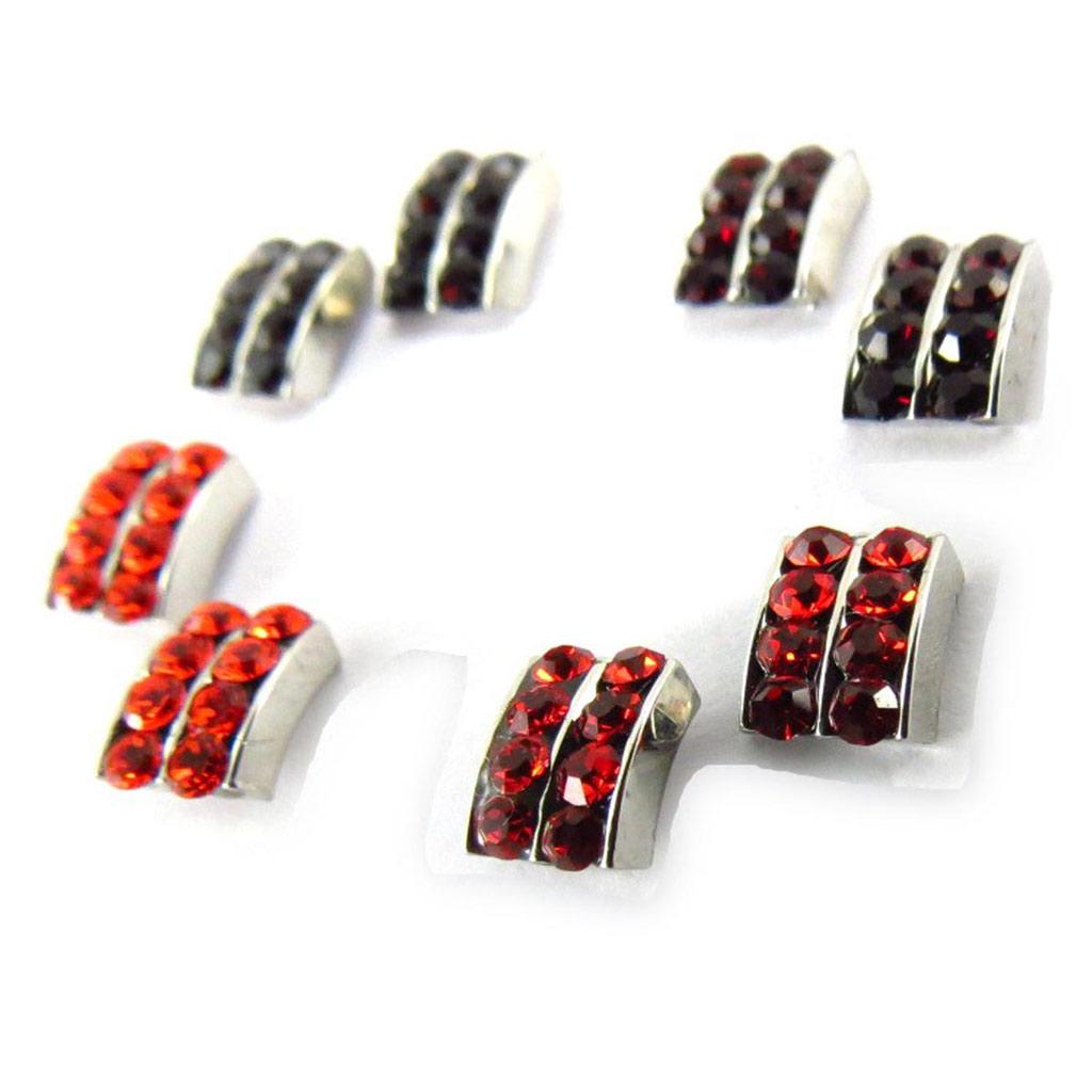 4 paires de boucles \'Sissi\' orange rouge (Swarovski) - [J6257]