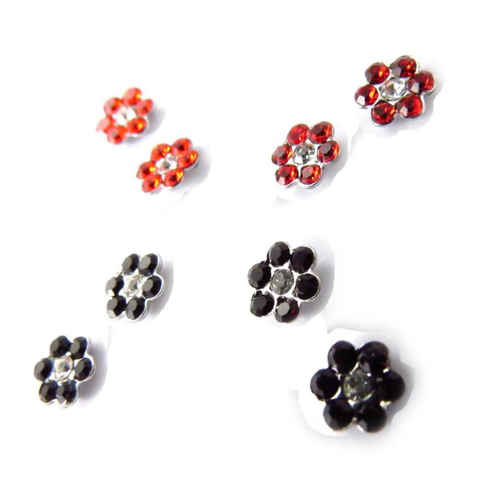 4 paires de boucles \'Sissi\' rouge (Swarovski) - [J6258]