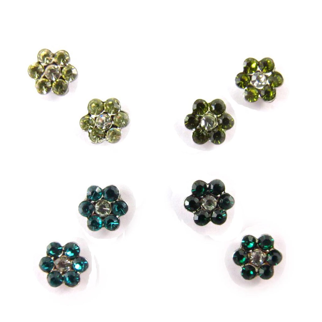 4 paires de boucles \'Sissi\' vert (Swarovski) - [J6259]