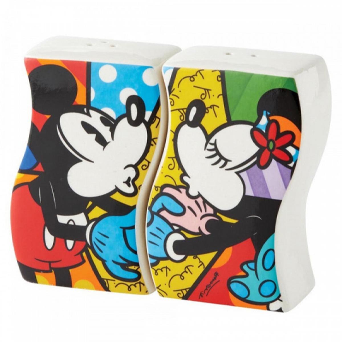 Coffret poivre et sel céramique \'Mickey & Minnie\' multicolore (Britto) - chacun 90x60x38 mm - [R2030]