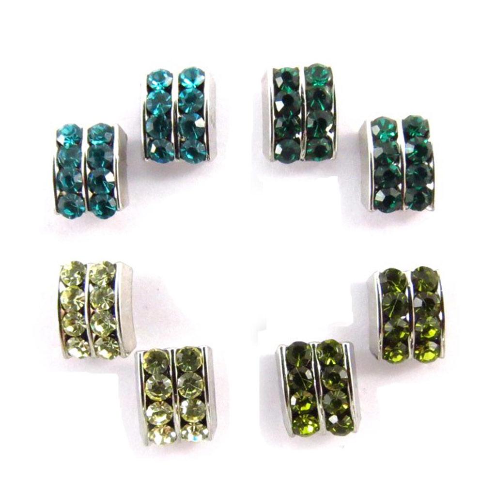 4 paires de boucles \'Sissi\' vert turquoise (Swarovski) - [J6260]