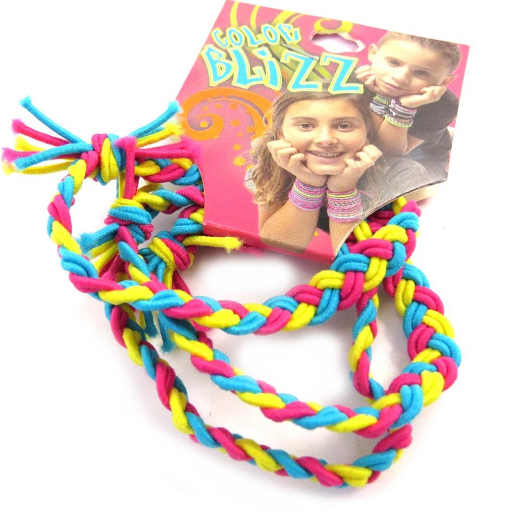 3 bracelets élastiques \'Coloriage\' bleu jaune rose - [M5312]