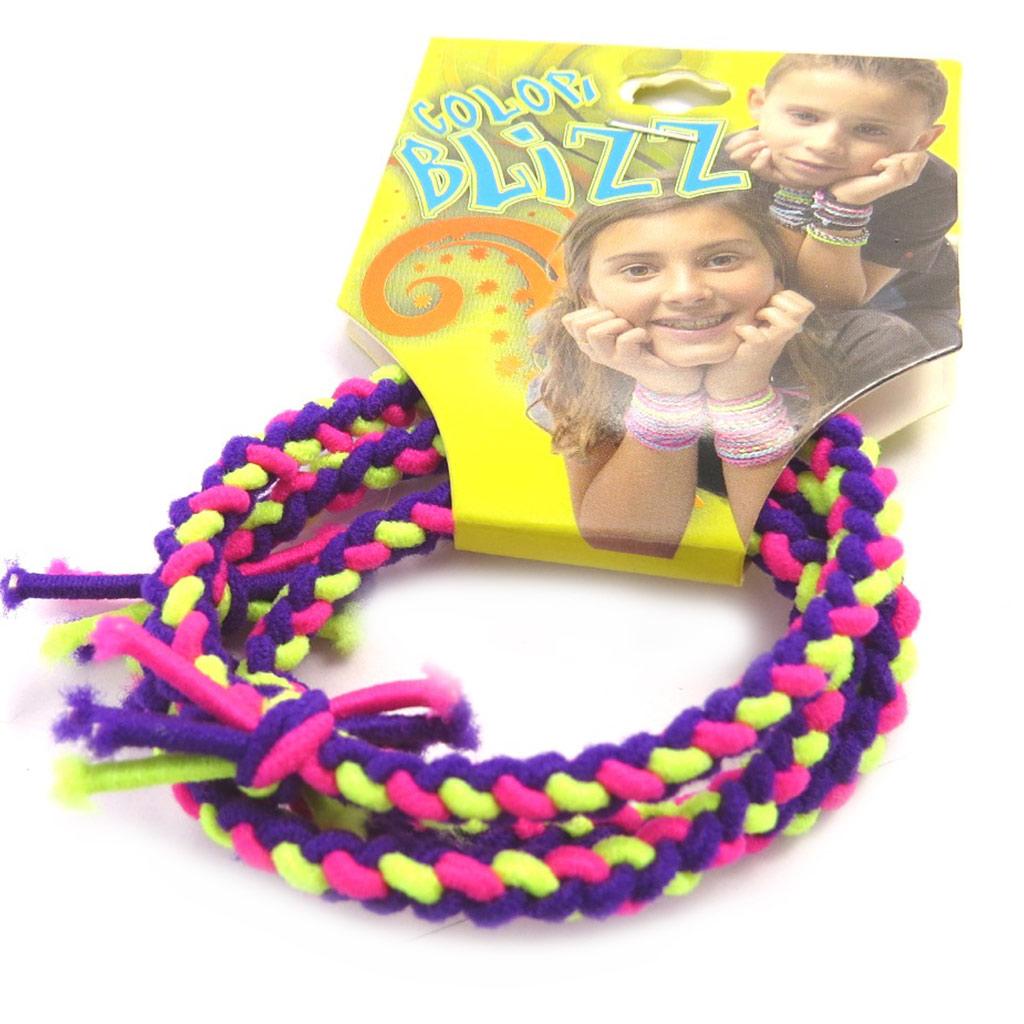 3 bracelets élastiques \'Coloriage\' violet jaune rose - [M5314]