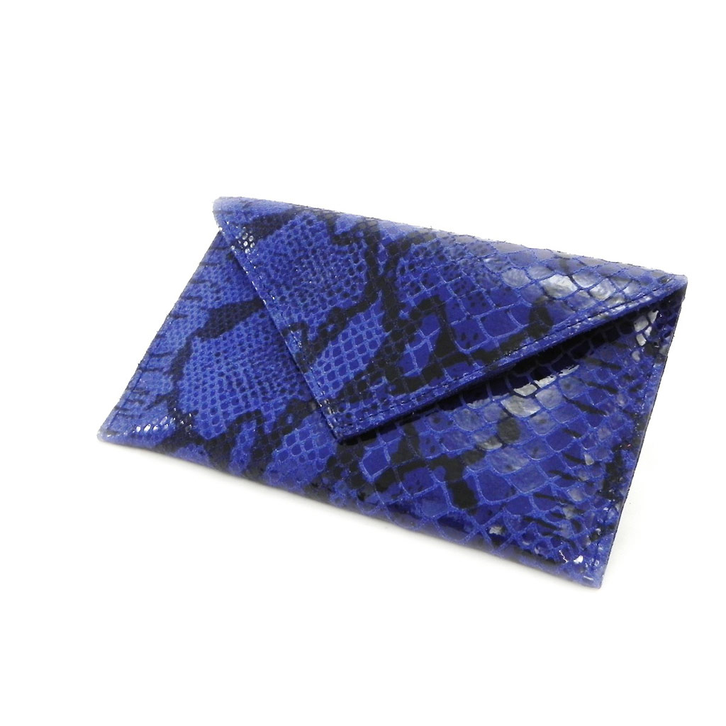 Porte Papiers de voiture Cuir \'Frandi\' bleu (motif python) (ultra plat) - [I7969]