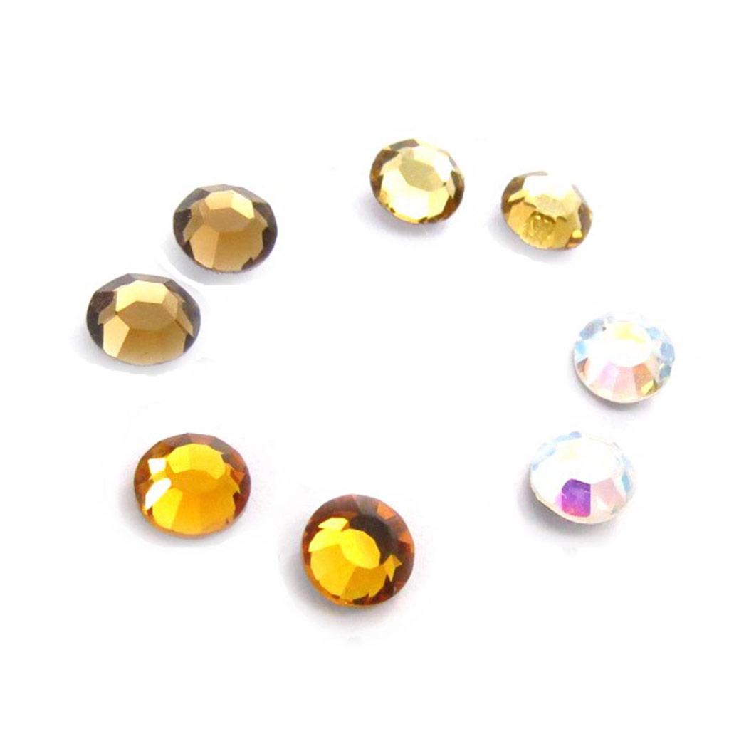 4 paires de boucles \'Oeil de Cristal\' ambre blanc  5 mm (Swarovski) - [J6270]