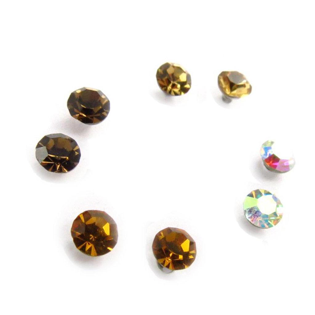 4 paires de boucles \'Oeil de Cristal\' ambre blanc  4 mm (Swarovski) - [J6273]