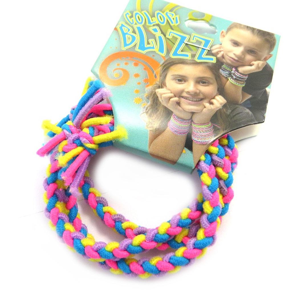 3 bracelets élastiques \'Coloriage\' jaune rose bleu - [M5323]