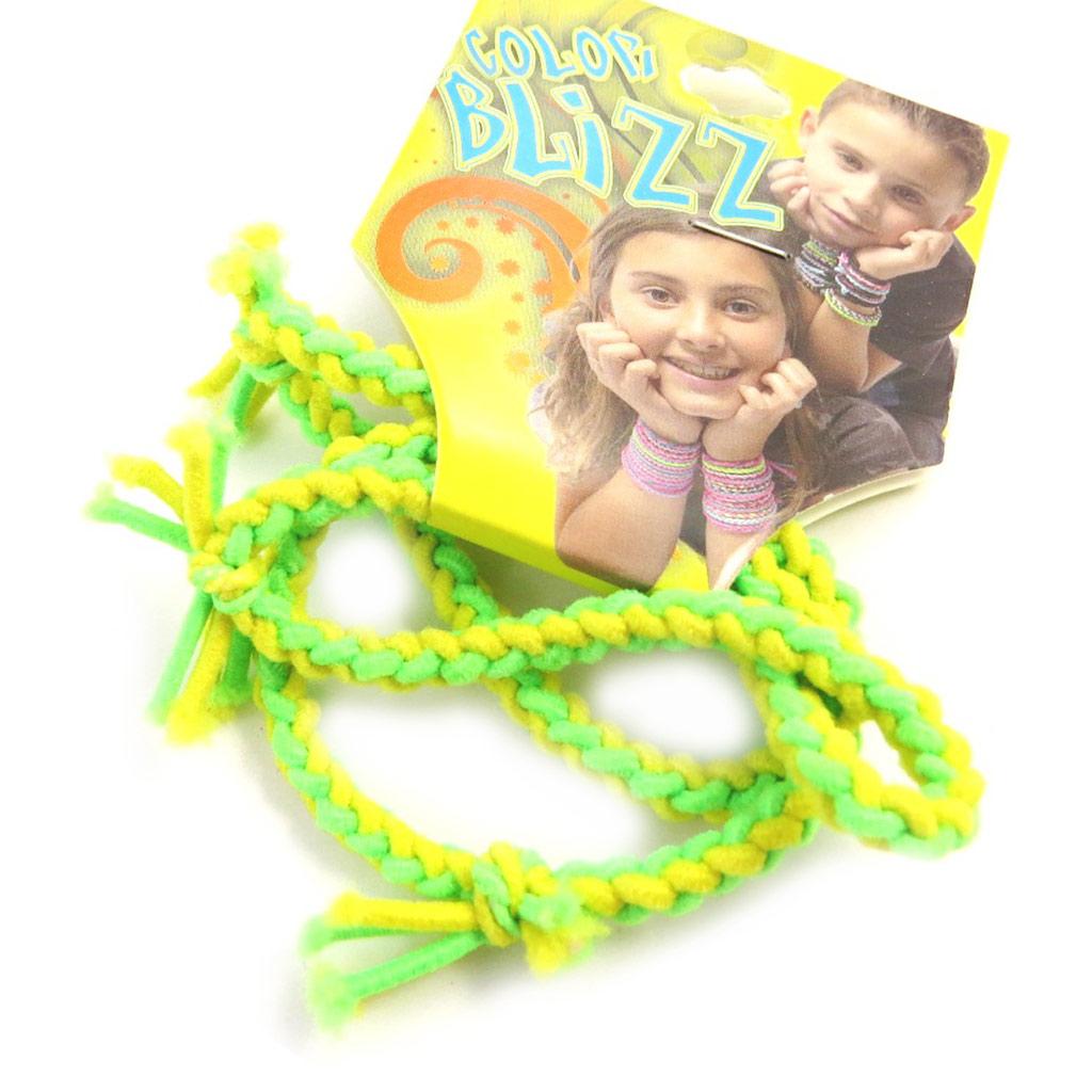 3 bracelets élastiques \'Coloriage\' vert jaune - [M5326]