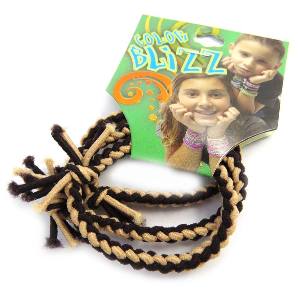 3 bracelets élastiques \'Coloriage\' beige marron - [M5330]