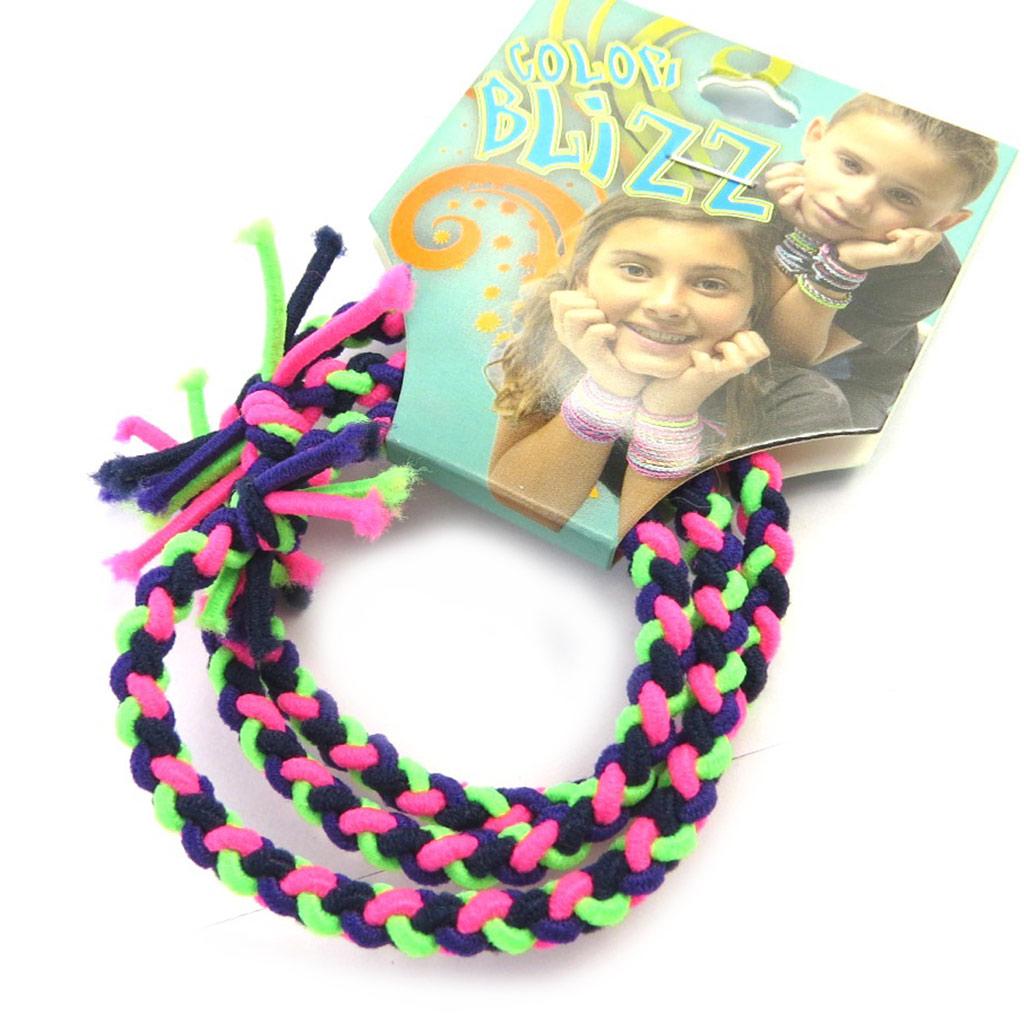 3 bracelets élastiques \'Coloriage\' vert violet rose - [M5332]