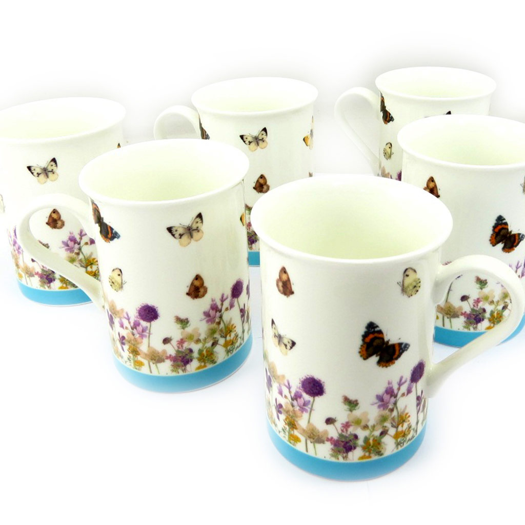 Mug porcelaine \'Papillons Romantiques\' multicolore - 10x75 cm - [K5022]