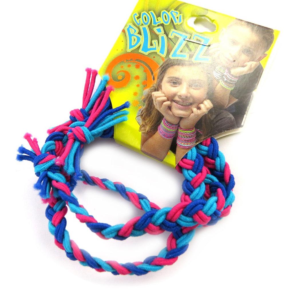 3 bracelets élastiques \'Coloriage\' bleu rose - [M5350]