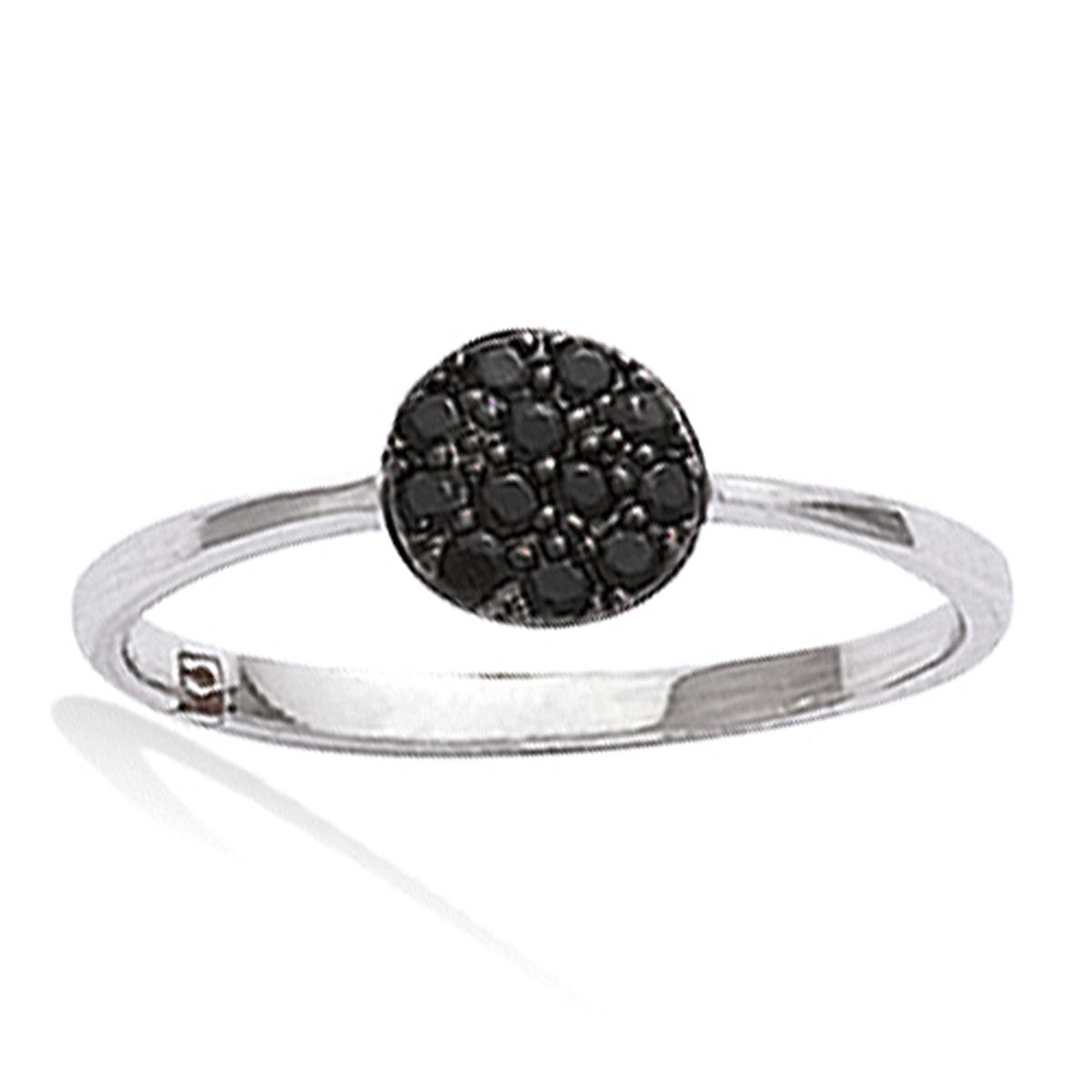Bague Argent \'Sissi\' noir argenté (rhodié) - 6 mm - [K5112]