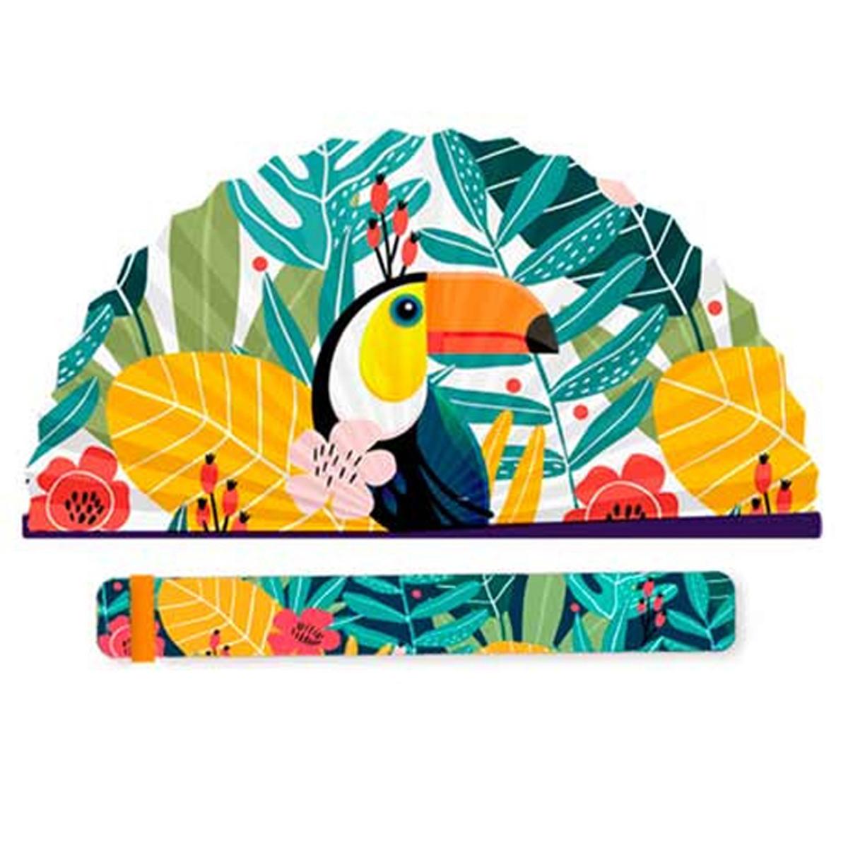 Eventail papier \'Toucan\' multicolore - 19x2 cm - [R2107]