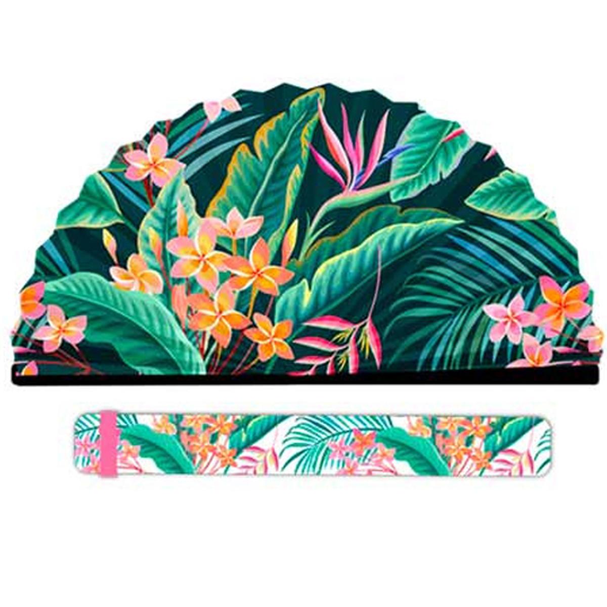 Eventail papier \'Tropical\' vert - 19x2 cm - [R2109]