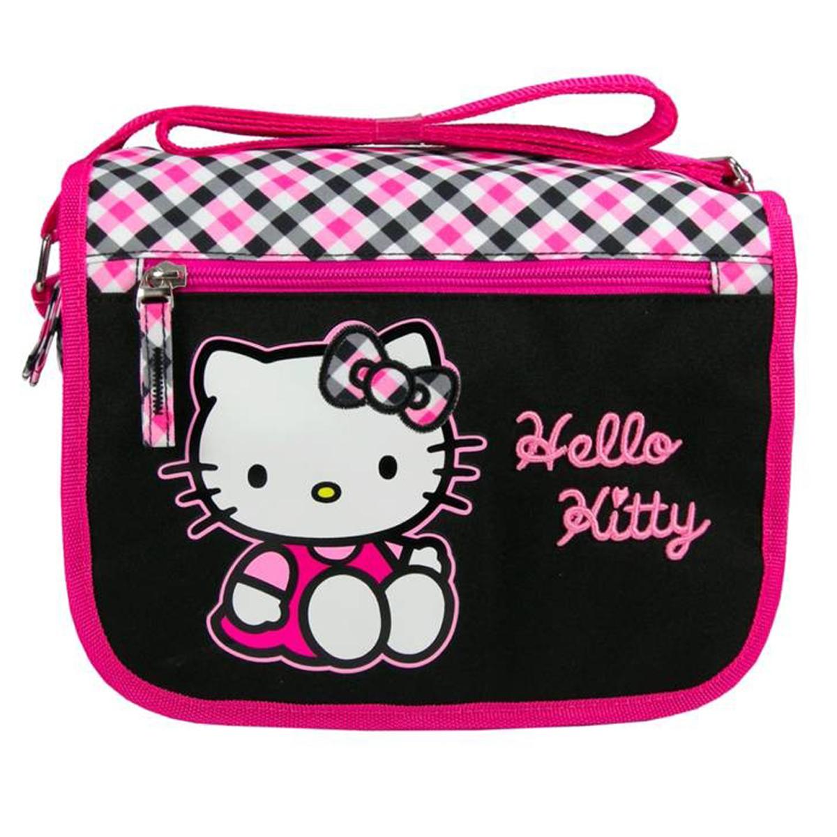 Sac \'Hello Kitty\' noir rose - 24x20x8 cm - [J6495]