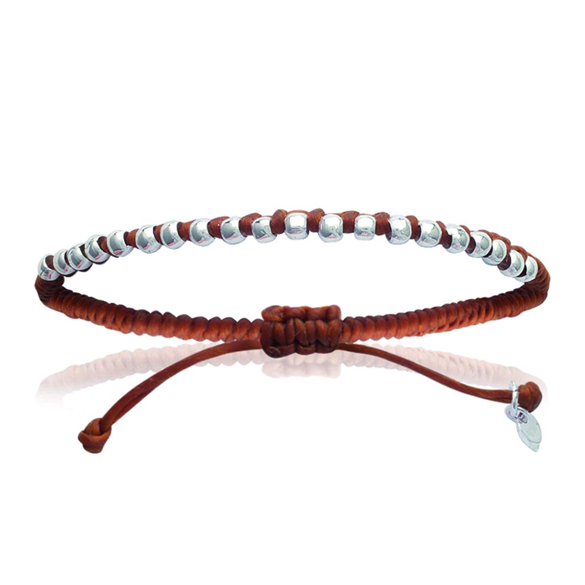 Bracelet Argent \'Billes\' marron camel argenté - 4 mm - [I8052]