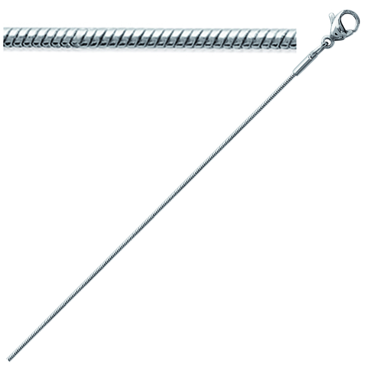 Chaîne Acier \'Serpent\' argenté - 42 cm 1 mm - [K5213]