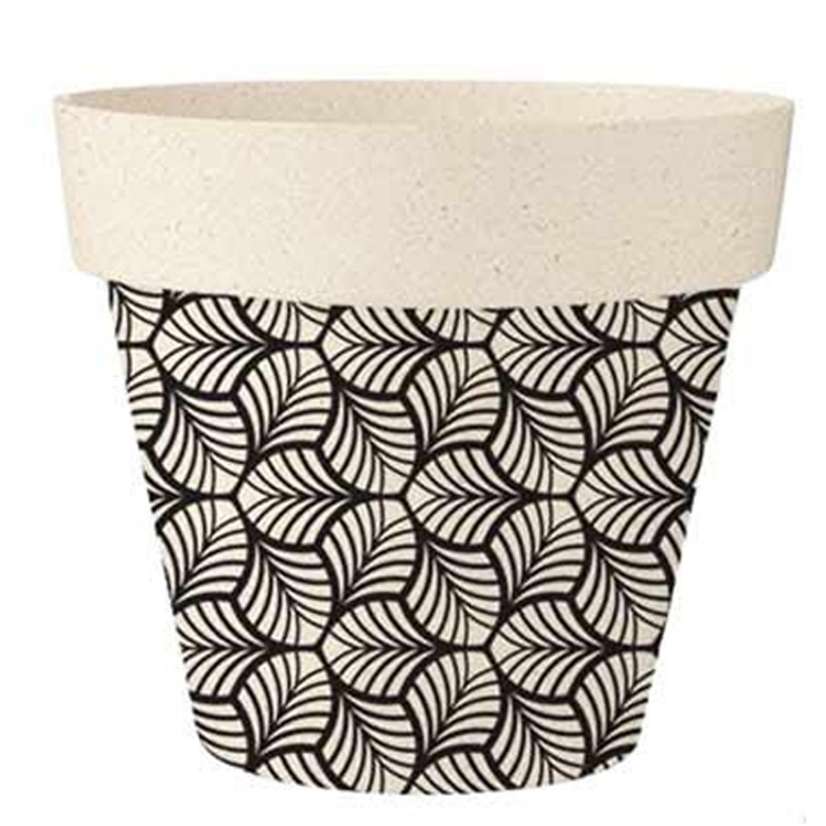 Cache-pot bambou \'Boho\' noir beige - 17x15 cm - [R2219]