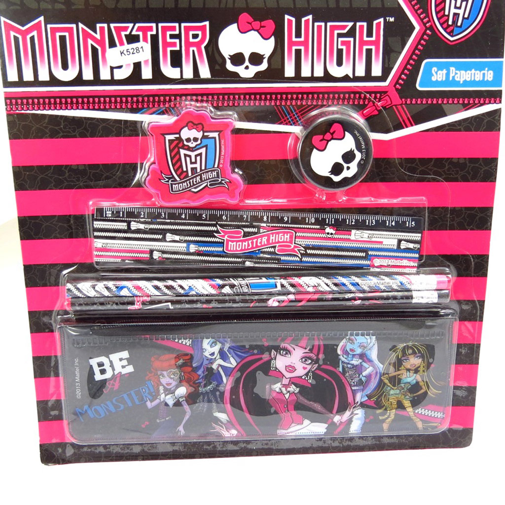 Set papeterie \'Monster High\' noir rose (6 pièces) - [K5281]