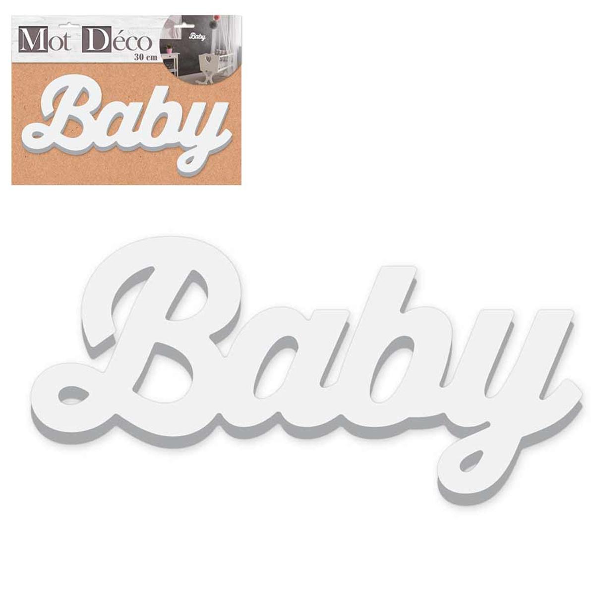 Mot Déco bois 3D \'Baby\' blanc - 30x135x15 cm - [R2265]