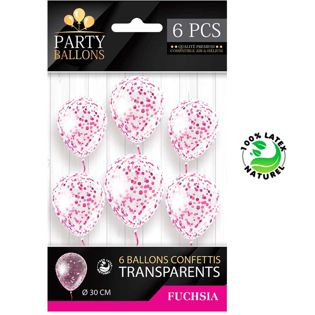 6 ballons latex \'Confettis\' rose - 30 cm - [R2286]