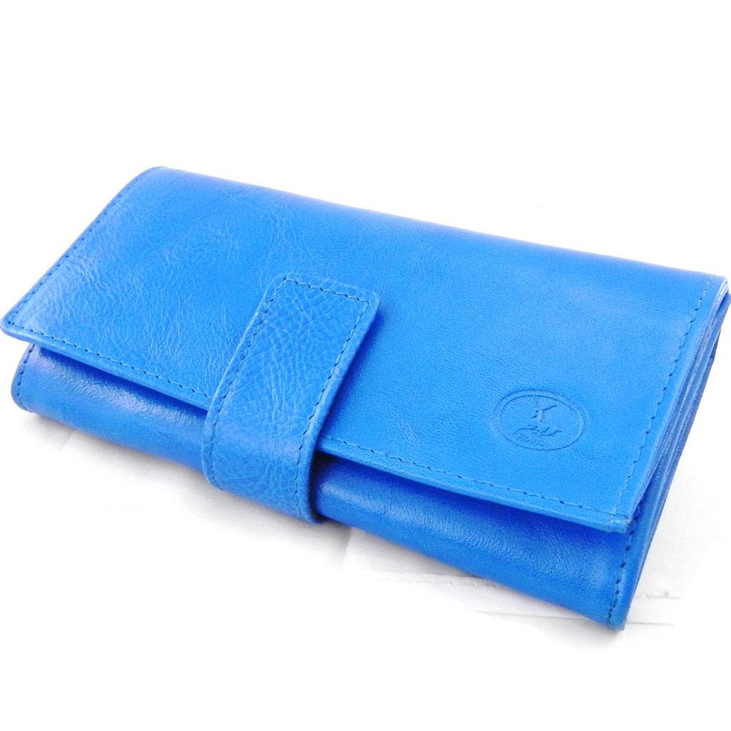 Grand porte-monnaie Cuir \'Frandi\' bleu roi (york écologique) - [I8703]
