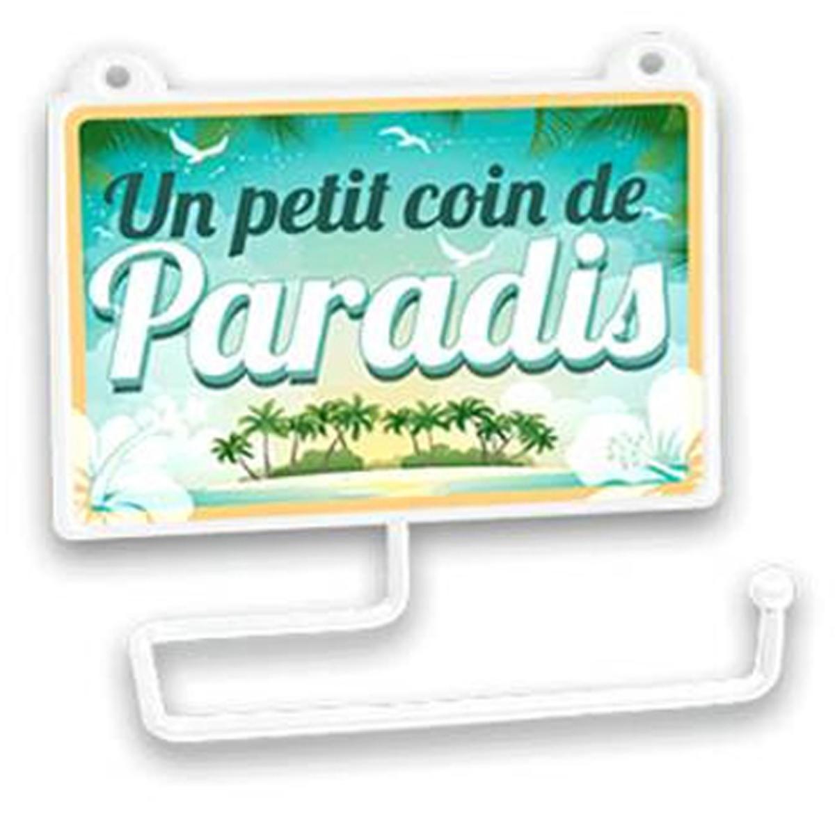 Dérouleur papier WC humoristique \'Messages\' (Un petit coin de Paradis !) - 15x125 cm - [R2335]