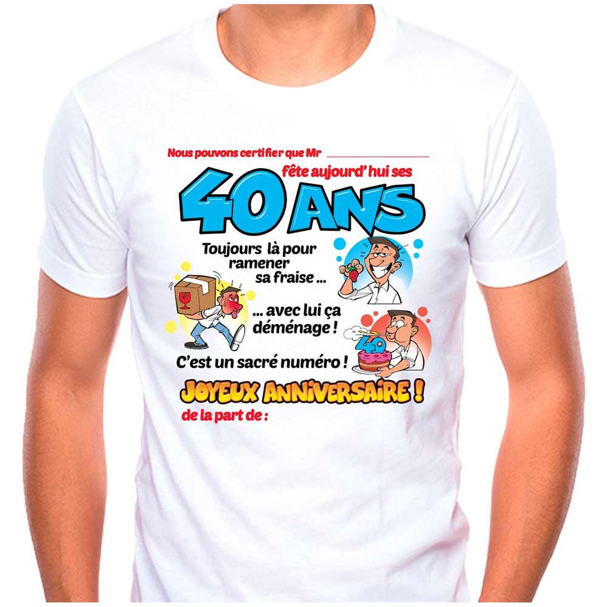 T-shirt coton \'40 ans\' bleu blanc - homme (dédicace) - [K5547]