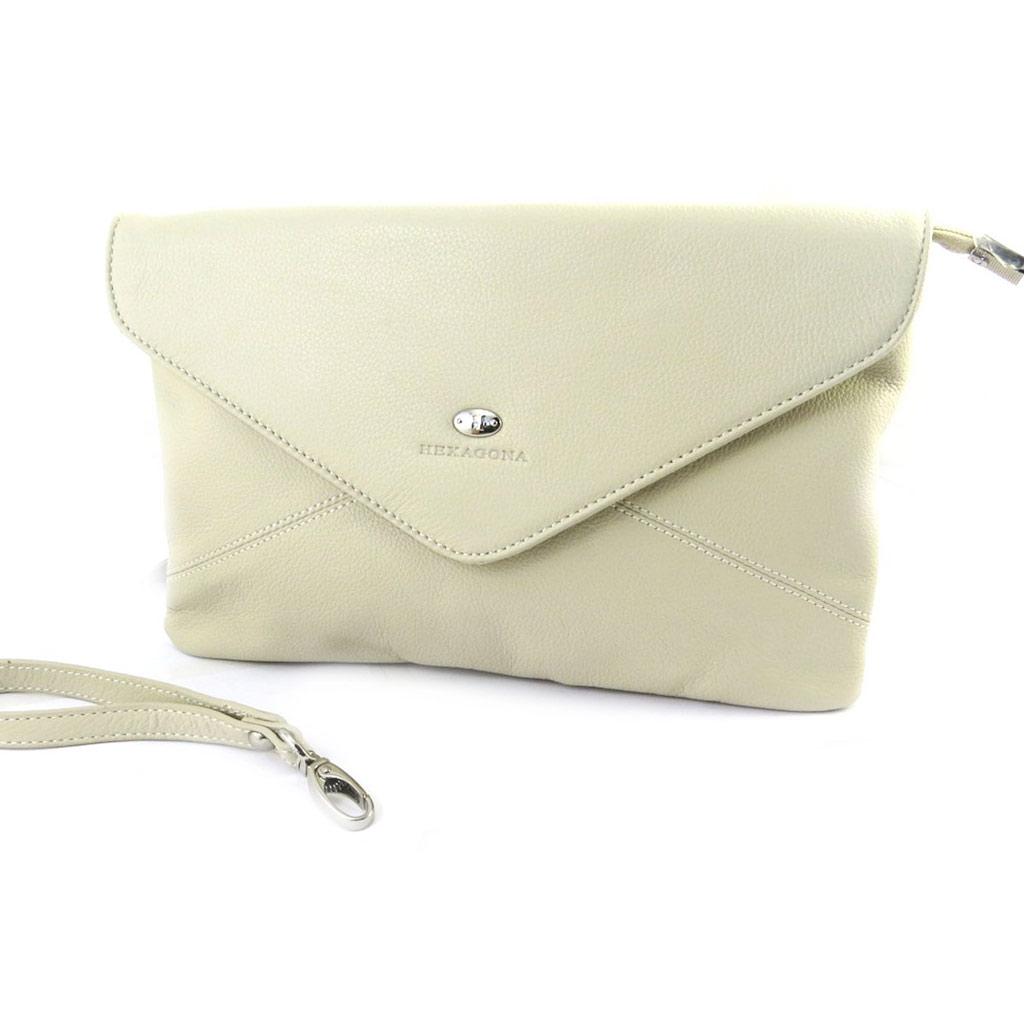Pochette cuir \'Hexagona\' beige grainé (enveloppe) - [M5845]