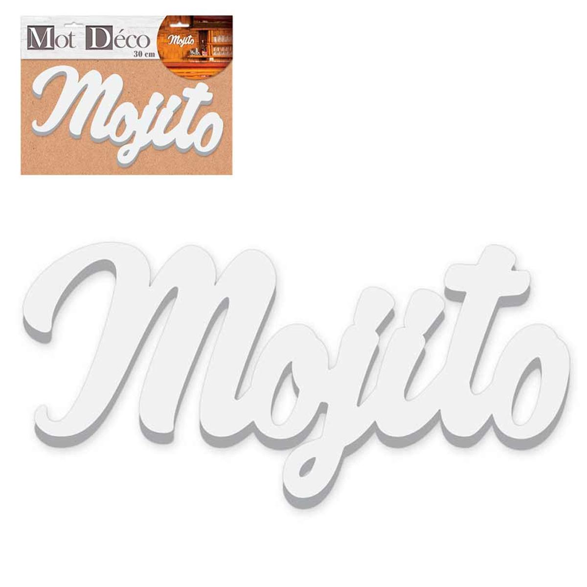 Mot Déco bois 3D \'Mojito\' blanc - 30x12x15 cm - [R2354]