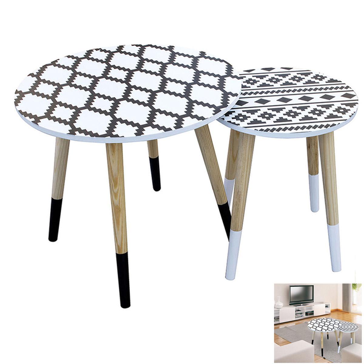 2 tables gigognes bois \'Boho\' noir blanc - 48 et 33 cm - [R2396]