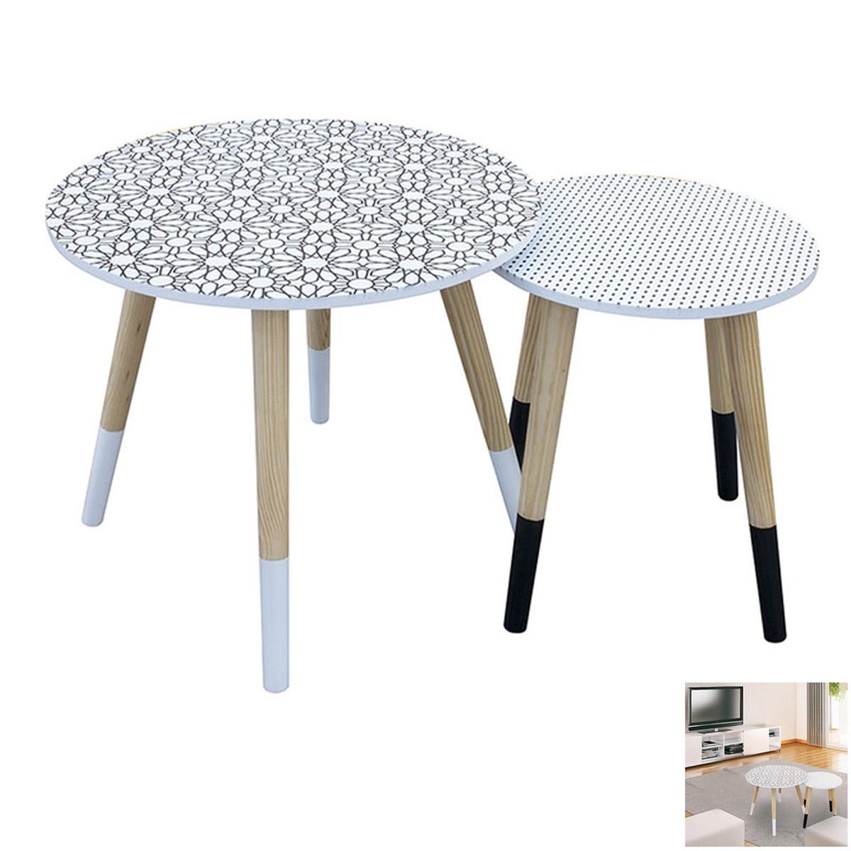 2 tables gigognes bois \'Boho\' blanc noir  - 48 et 33 cm - [R2397]