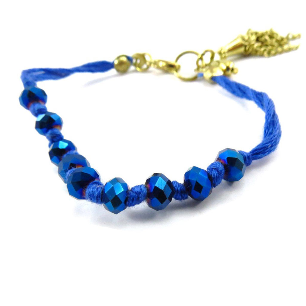 Bracelet ethnique \'Shambhala\' bleu - [J7000]