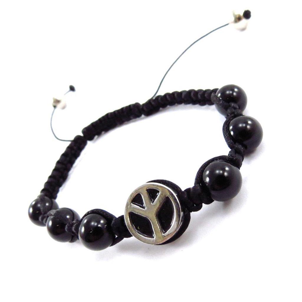 Bracelet ethnique \'Shambhala\' noir (peace) - [J7020]