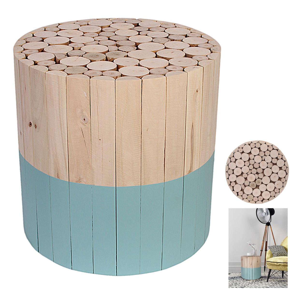 Tabouret bois \'Rondins de bois\' bleu beige - 30x30 cm  - [R2407]