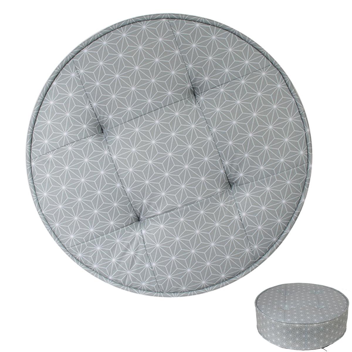 Pouf rond \'Boho\' gris - 50x16 cm - [R2412]