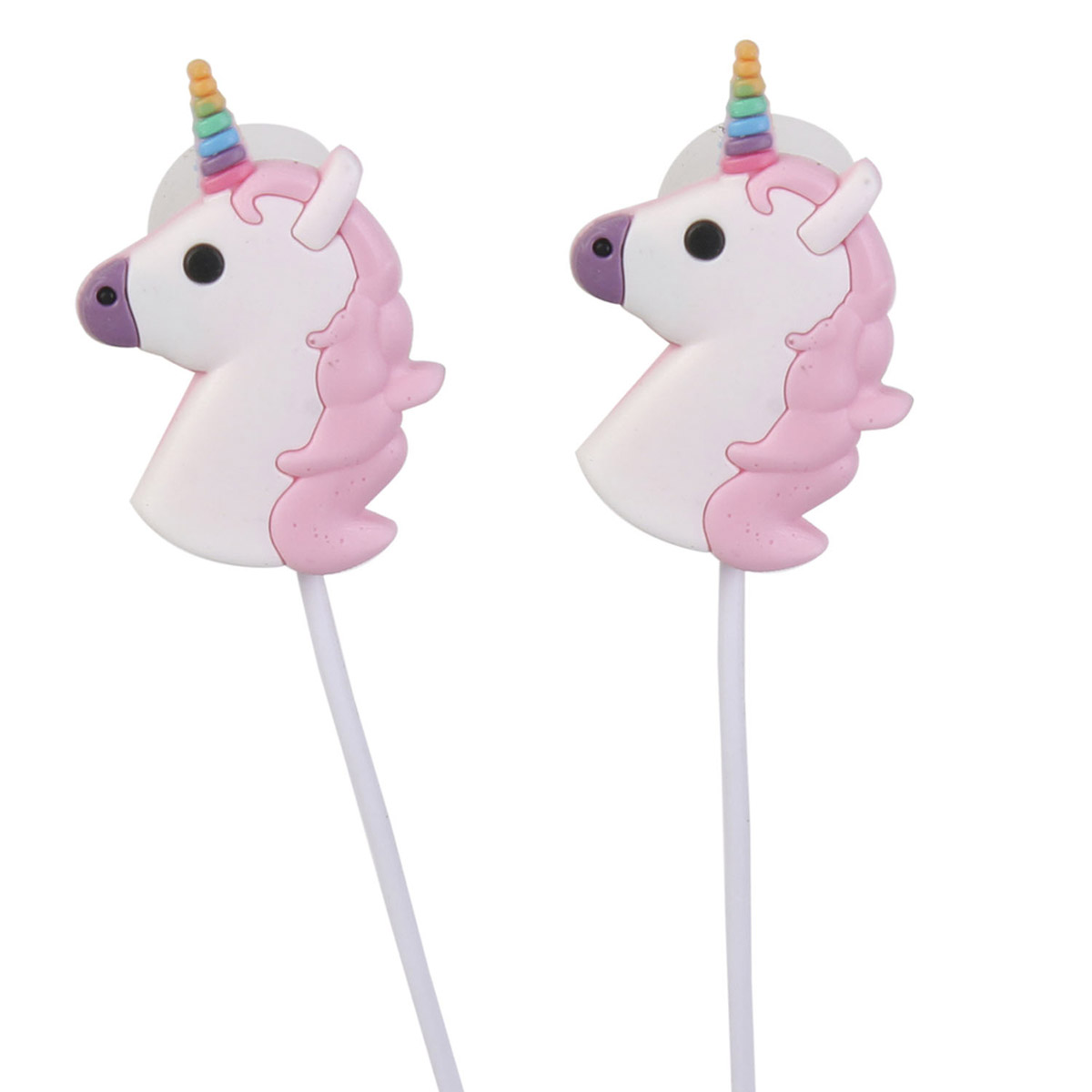 Ecouteurs \'Licorne My Unicorn\' blanc rose - 25x15 mm - [R2419]